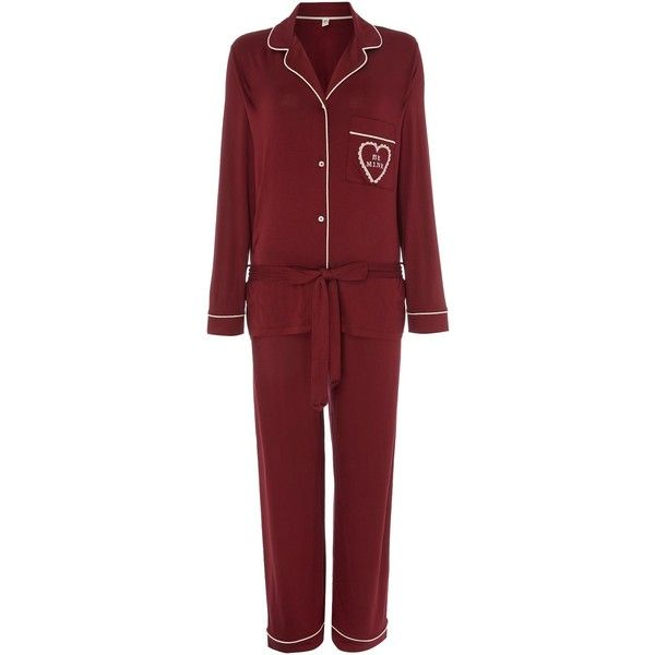 Chelsea Peers Be mine long sleeve pyjama set ($50) ❤ liked on Polyvore featuring intimates, sleepwear, pajamas, burgundy, women, long sleeve sleepwear, long sleeve pajamas, long sleeve pajama set and long sleeve pyjamas