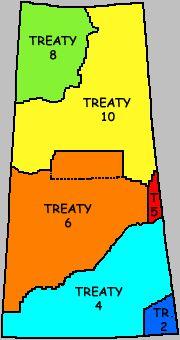 First Nations Bands of Saskatchewan, Treaty Areas