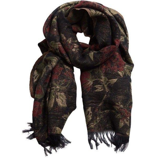 Metallic Flowers Scarf ($68) ❤ liked on Polyvore featuring accessories, scarves, flower scarves, metallic scarves, floral print scarves, floral shawl and floral scarves