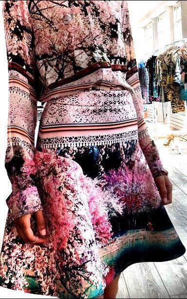 Graphic Photographic Prints - landscapes, trees & nature, skirt & blouse in vivid pinks & black - digital print fashion // Mary Katrantzou