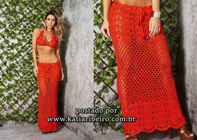 Katia Ribeiro Moda e Decoração Handmade : Saia Longa em Crochê e Top
