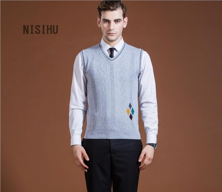 New style mens fashion formal vest diamond front sweater intarsia wool sweater vest