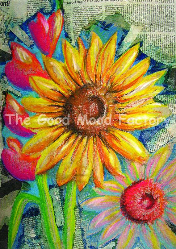 The Good Mood Factory_ Sunflowers collage print_ Art print Copy on paper of original