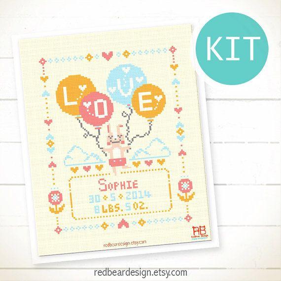 Baby announcement DIY cross stitch KIT Little by redbeardesign