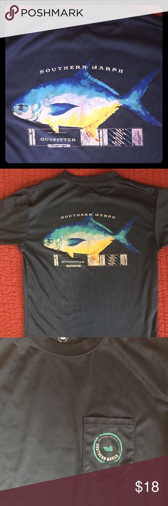 """Boys L Southern Marsh Fishing T Shirt """"Fieldtech"""" fabric T shirt; I'm not sure if it's technically an SPF fabric but this is their nicer high end fabric, not cotton. Youth L, fit us best at size 12-14. Southern Marsh Shirts & Tops Tees - Short Sleeve"""