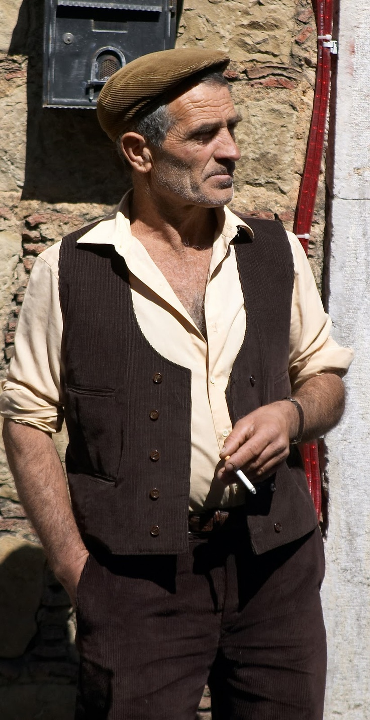 "Typical Sicilian man with hat called ""coppola"", Italy"