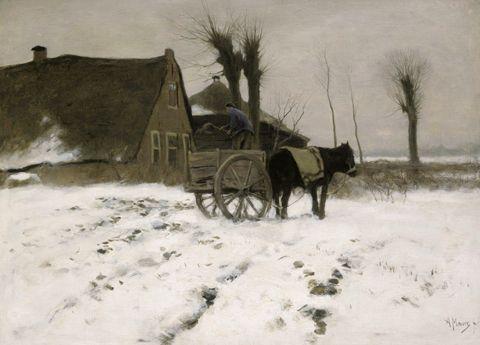 Anton Mauve. Bij de boerderij in de winter