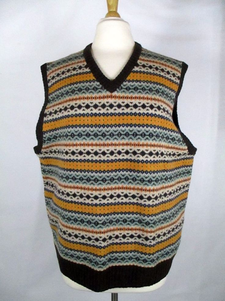 EDDIE BAUER Women's L Brown Fair Isle Lambswool Sweater Vest Large 42-44 #EddieBauer