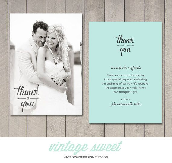 Wedding Thank You Card (Printable DIY) by Vintage Sweet Design On Etsy {$12.00} http://www.etsy.com/shop/vintagesweetdesign Postcard | Magnet | Vintage | Scroll | Fancy Script | Heart | Arrow | Teal | Peach | Coral | Mint