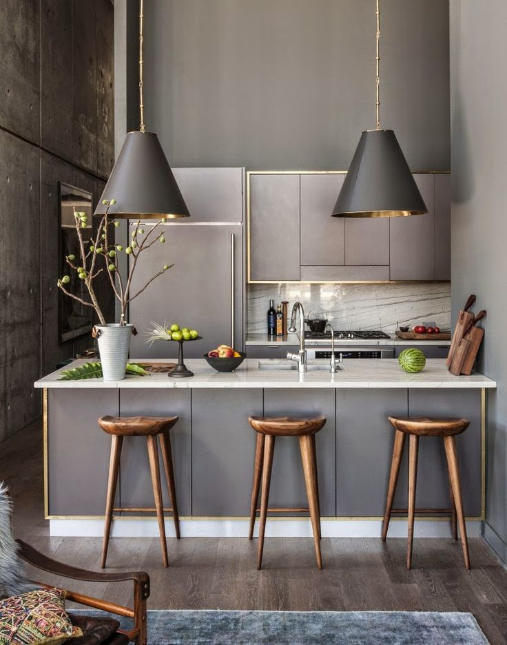 Small Modern Kitchen With Grey Shades And Gold Accents