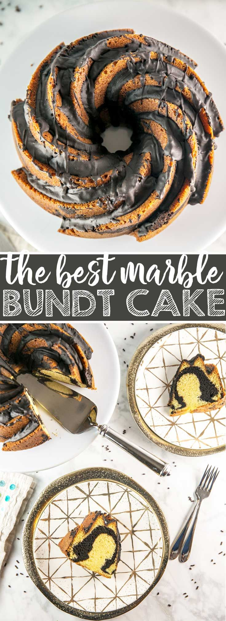 Best Marble Bundt Cake: the best of both worlds, boasting a strong vanilla and chocolate flavor, without the dry and crumbly texture of most marble cakes.  The best! #bundtcake #cake #marblecake  via @bnsnbrnrbakery
