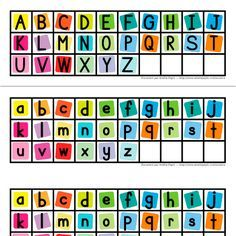 Fichiers PDF téléchargeables Versions en couleurs et en noir et blanc Lettres majuscules et minuscules incluses 2 pages  Ce document contient les lettres de l'alphabet en minuscule et en majuscule (2 groupes par page, 2 pages). Vous pouvez imprimer ce document sur un papier autocollant.