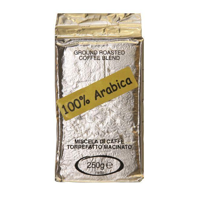 Bravi Caffe Arabica gemalen pak 250 gr  Bravi Caffe Arabica gemalen pak 250 gr Deze Bravi Caffe gemalen koffie zorgt ervoor dat jij koffie maakt van topkwaliteit. Het is een brander die zich sinds 1952 specialiseert in de Italiaanse koffiecult. Bravi Caffe is bekend bij devele Romeinse caffé bars. Deze Bravi Caffe is gemaakt van 100% Arabica koffiebonen heeft een laag cafeïnegehalte en een laag plantaardig vetniveau. Een perfecte koffie voor een overheerlijke espresso.  100% Arabica De Bravi…