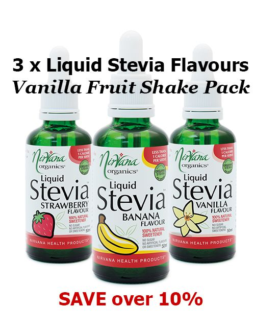 Vanilla Fruit Shake Pack - Indulge in Nirvana Organic's most popular fruit flavour sensations that are sweet, delicious and sugar-free! BANANA - STRAWBERRY - VANILLA Stevia Flavours