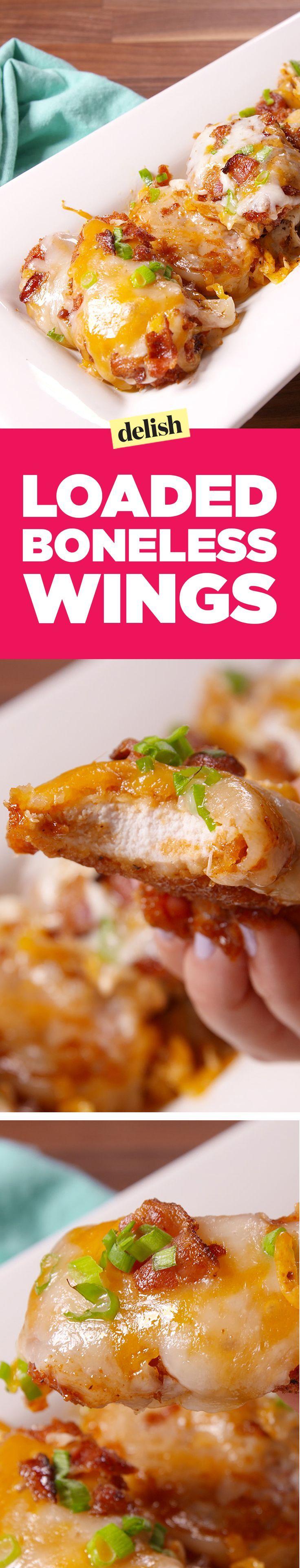 These loaded boneless wings will be your new favorite party trick for fall. Get the recipe on http://Delish.com.
