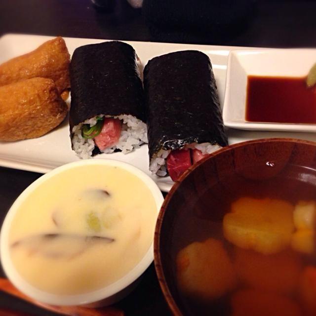 恵方巻きにお稲荷さん、茶碗蒸しと花麩のお吸い物 - 6件のもぐもぐ - 節分メニュー by vanchika