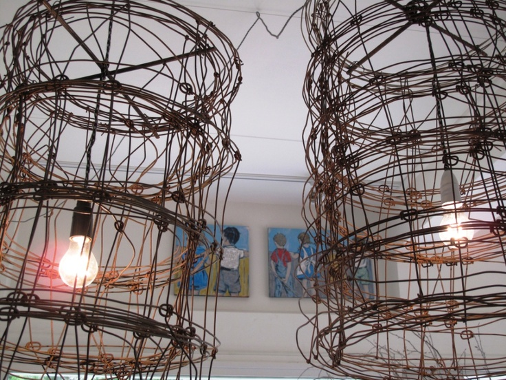 Wire chandeliers by Mark Tuckey