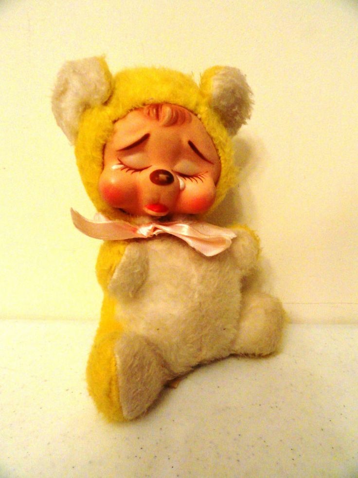 Vintage Rushton Rubber Face Sad Crying 9 Quot Yellow Teddy
