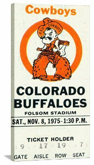Oklahoma State vintage football art. http://www.shop.47straightposters.com/1975-Oklahoma-State-vs-Colorado-Football-Ticket-Art-75OkST.htm