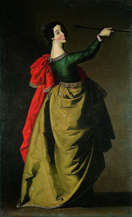 ▴ Artistic Accessories ▴ clothes, jewelry, hats in art - Francisco de Zurbarán | Saint Ursula, c.1635.