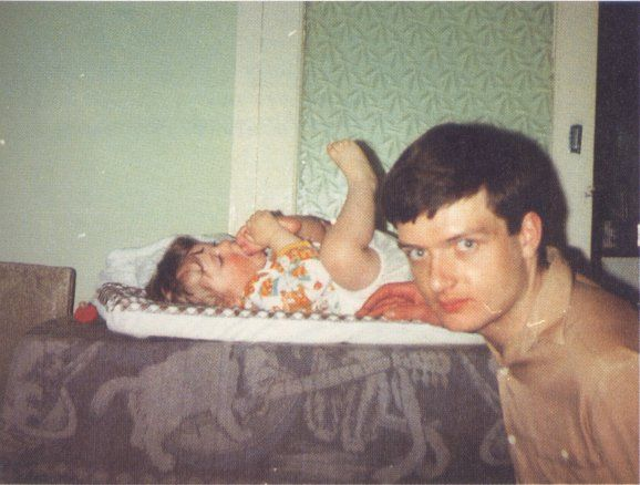 Probably one of the only pictures of Ian Curtis and his daughter Natalie Curtis not long before his death in 1980.