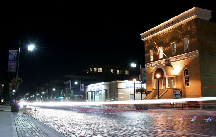 Main Street Markham after dark - the Old Town Hall