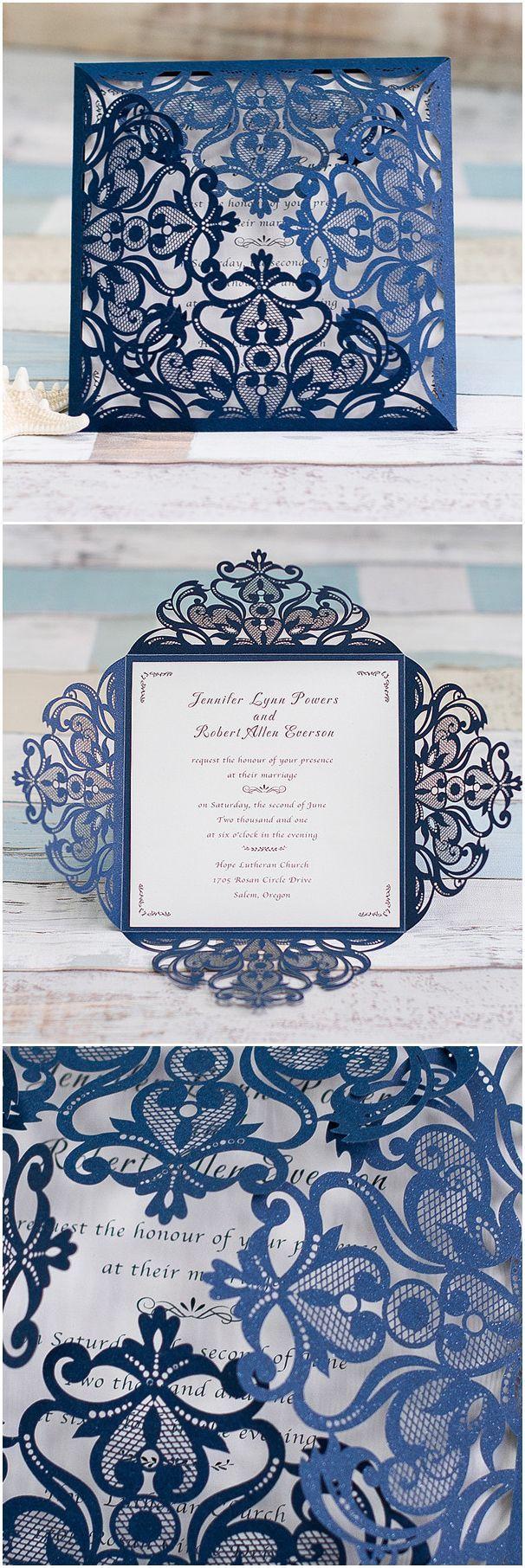 graceful navy blue laser cut wedding invitation