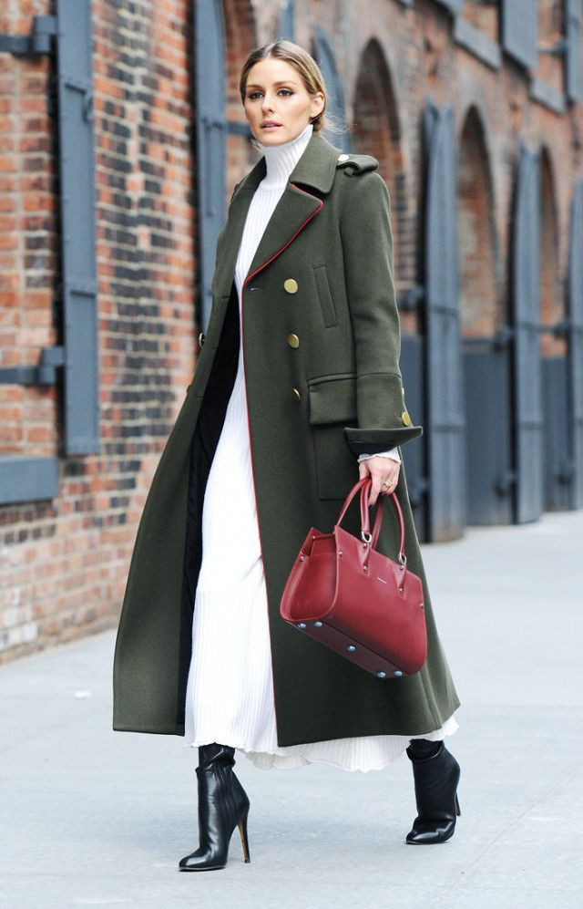 On Olivia Palermo: Zara Knit Dress; Tibi Military Coat (£1310); Longchamp Bag and Jimmy Choo boots.