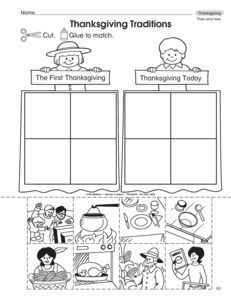 This Thanksgiving worksheet has student sort pictures of past and present Thanksgiving. A freebie from TheMailbox.