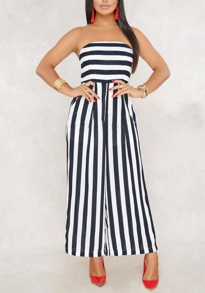 1e1705a9520f Black-White Striped Bandeau Pockets Off Shoulder Backless Elegant Wide Leg  Long Jumpsuit