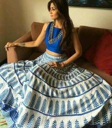 Buy white blue crep and printed printed unstitched lehenga choli bollywood-lehenga online