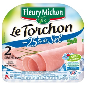 Le tranché fin Torchon -25% de sel - Jambon au Torchon - Fleury Michon (FR 85.182.003 - ) Riche en Oméga 3 Sans Couenne 4 Tranches 120g - Jambon de porc, bouillon (eau, carotte, céleri, poireau), sel, dextrose, oignon frit (oignon, huile de tournesol), poivre. Antioxydant: ascorbate de sodium. Conservateur: nitrite de sodium. Tranches fines 4x 30g 120g