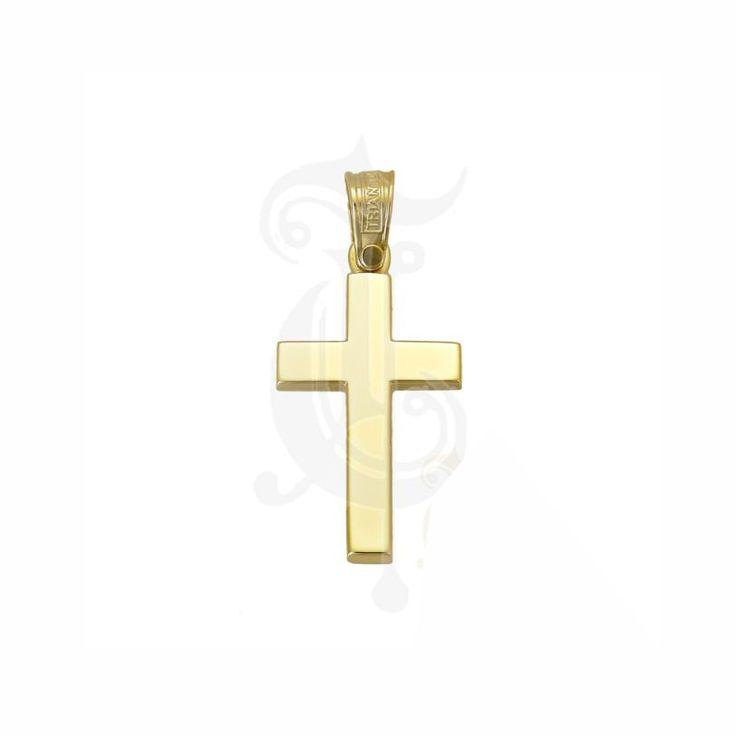 Κλασικός βαπτιστικός σταυρός ΤΡΙΑΝΤΟΣ για αγόρι από χρυσό Κ14 επίπεδος και μακρόστενος | Βαπτιστικοί σταυροί ΤΣΑΛΔΑΡΗΣ στο Χαλάνδρι #τριάντος #βαπτιστικός #σταυρός #βάπτισης #αγόρια