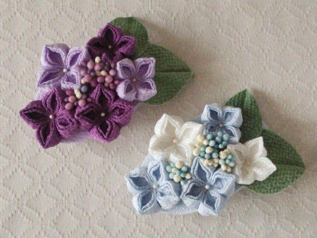 〈つまみ細工〉紫陽花のバレッタ(水色と白)の画像5枚目