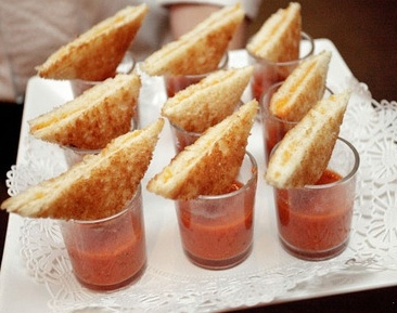 mini grilled cheese and tomato soup shooters. Good for a wedding