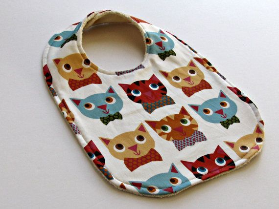 bib for baby or toddler cats organic sherpa by spaghettis on Etsy, $15.00