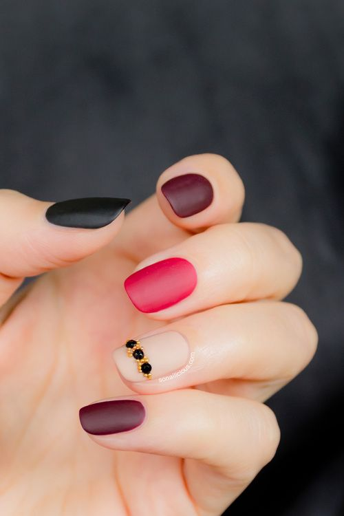 Black red and burgundy matte nails