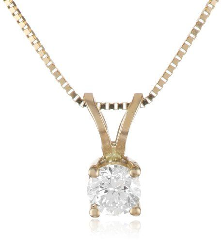14k Yellow Gold Round Diamond Solitaire Pendant Necklace (1/4 ct, I-J Color, I1-I2 Clarity), 18 Domestic.  #AmazonCuratedCollection #Jewelry