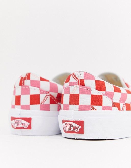 ff162eb1f7df Vans Exclusive Red And Pink Checkerboard Slip On Trainers ...