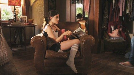 Aria Montgomery in a casual style
