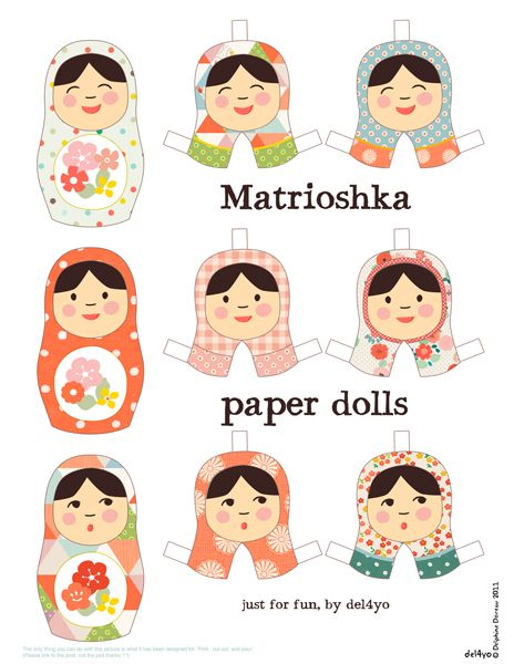 Matrioshka Paper Dolls - use on a dress!