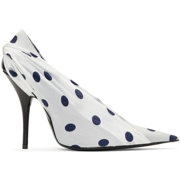 Balenciaga White and Navy Polka Dots Heels (540 AUD) ❤ liked on Polyvore featuring shoes, pumps, white, navy and white pumps, polka dot pumps, navy and white shoes, pointed toe pumps and polka dot jersey