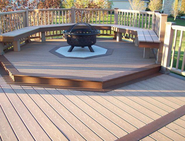 Fire pitFire Pits, Decks Ideas, Backyards Decks, Design Ideas, Deck Design, Decks Design, Outdoor Decks, Hot Tubs, Firepit