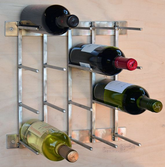 Steel Wine Rack, Modern Wine Rack, Minimal, Sleek , Stainless Steel, Industrial Wine Rack