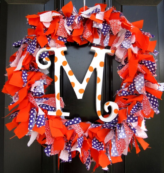 Clemson Girl Wedding Wednesday - Handmade Etsy finds for your Clemson Wedding: Tigers Pride, Clemson Girls, Handmade Etsy, Clemson Wreaths, Fabrics Wreaths, Etsy Finding, Clemson Fabrics, Personalized Clemson, Clemson Tigers