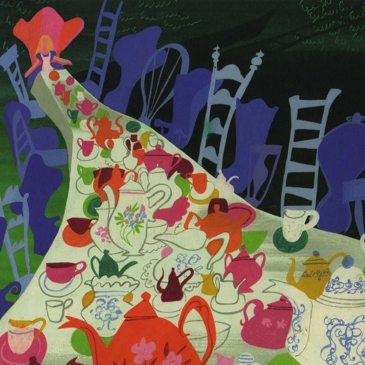 "Concept art for Disney's 1950s animated ""Alice"" by Mary Blair."