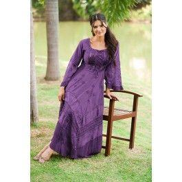 Purple Passion Bella Peasant Maiden Satin Lace-Up Corset A-Line Dress Gown - Purple - Shop by Color - Dresses