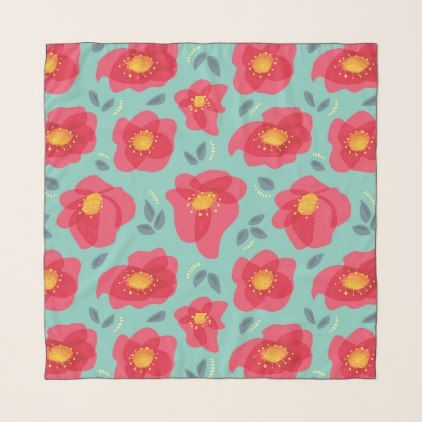 Pretty Floral Pattern With Bright Pink Petals Scarf -nature diy customize sprecial design