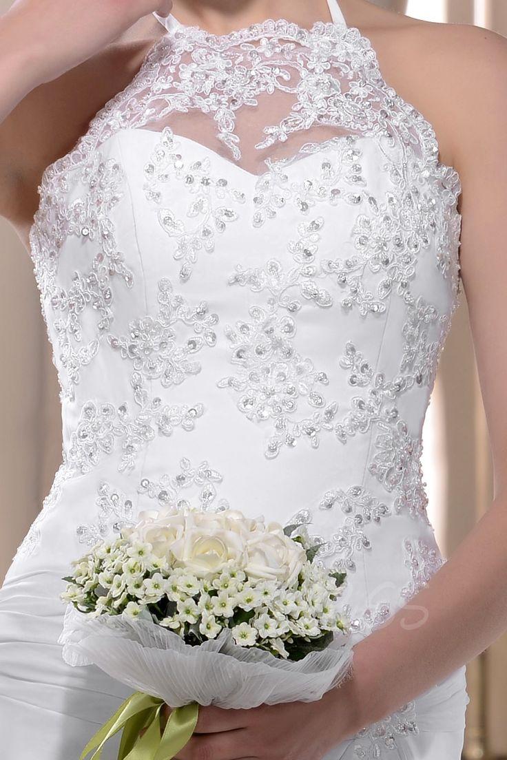 Sheath/Column High-Neck Sleeveless Floor-length Court Wedding Dress