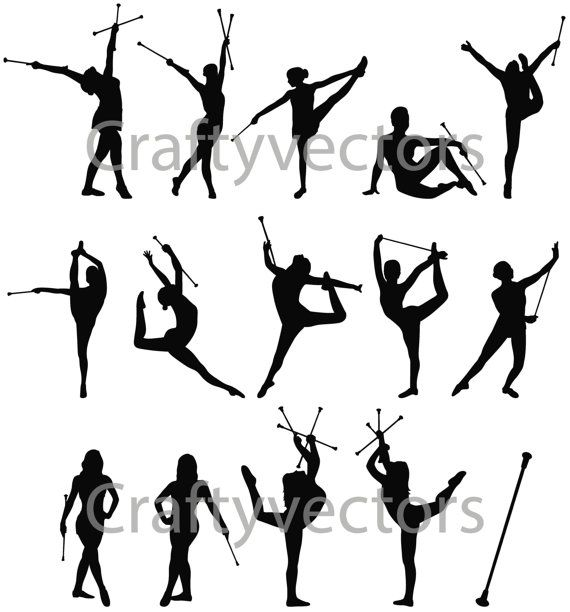 Baton Twirling vector file on Etsy, $4.95